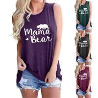 Women MAMA BEAR Summer Tank Tops Graphic T-Shirts Sleeveless Casual Tunic Blouse