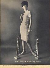 1962 Nat Kaplan PRINT AD feat: Fashion White Embroidery on Wedgwood blue dress