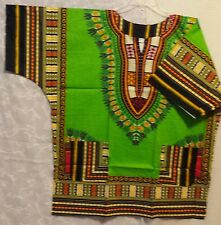 Dashiki Shirt Poncho Tribal African Hippy Unisex T-Shirt Lime yellow Free size