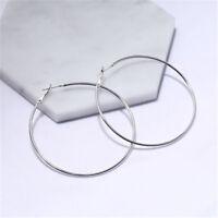 ladies Jewelry  Sterling  Plated Big Circle Large Round Hoop Dangle Earrings hot