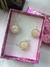Natural Keshi Pearl & 925 Sterling Silver Pendant earrings Wedding Gift Box set