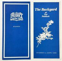 1985 Original Vintage Menu THE PADDOCK & BACKYARD Restaurant Hyannis Cape Cod MA