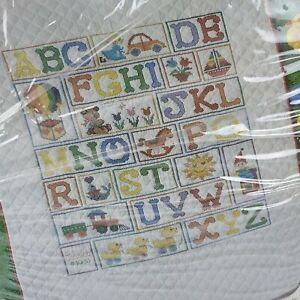 Bucilla Baby Collection quilted Crib Cover ABC Cross Stitch 40 x 60 Kit 49156
