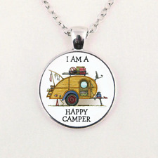 "Camping Camper Trailer Free $10 Gift Silver 20"" Necklace Women men Pendant"