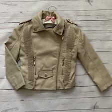 Girls 4 Years - Faux Leather Jacket - KIDS STAR Beige Ruffle Detail Lined Coat