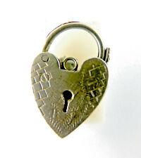 Vintage Silver HEART Shaped Charm Bracelet Fastener Hand Etched.