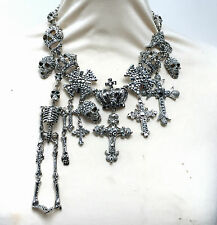 Butler and Wilson Plata Cristal Cráneo Esqueleto Cruz Corona De Medalla Collar