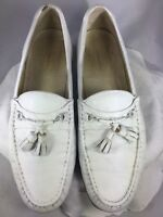 """""""Church's"""" Men's White Leather Moc Toe Pinched Loafers Shoes Size 9.5 M England"""