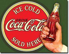 Coca Cola Coke Ice Cold Bullseye Sold Advertising Vintage Retro Metal Tin Sign