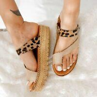 Ladies Womens Flatform Summer Sliders Slip On Mule Beach Sandals Shoes Size