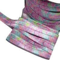 "orange /& aqua floral print 5//8/"" fold over elastic FOE 3 Yards Pink"