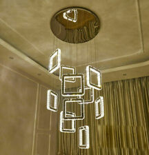 LED Dimmable 3 color Staircase Light Crystal Chandelier Restaurant Pendant Lamp