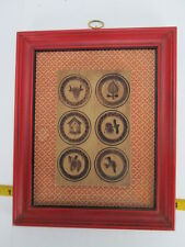 "Vintage Early American Cookie Mold In Frame 8 1/2""x10 1/2"" Stamp Wall Hanging T"