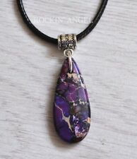Purple Sea Sediment Jasper & Pyrite Pendant Necklace Reiki Healing Ladies Gift