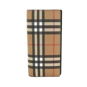 BURBERRY Nova Check Long Wallet PVC Leather Beige 90126130