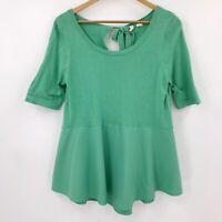 Moth Anthropologie Womens Short Sleeve Peplum Top Knit Seafoam Green Sz M