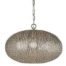 Searchlight Fretwork Shiny Nickel Moroccan Design Shade Chandelier Pendant Light