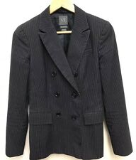 Armani Exchange Womens Blue Pinstripe Double Breast Blazer Jacket Size Medium