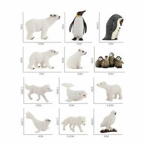 12PCS Mini Wildlife Ocean Arctic Animal Model Figure Penguin Polar Bear Figurine