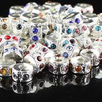 10Pcs Czech Crystal Silver Stopper Locks/Clips Charm Beads Fit European Bracelet