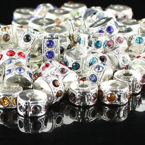 5Pcs Czech Crystal Silver Stopper Locks/Clips Charm Beads Fit European Bracelet