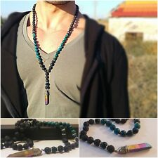 Men Long Beaded Necklace With Chrysocolla Stones, Mala Chain. Gift For Men