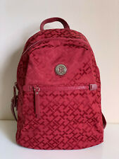 NEW! TOMMY HILFIGER SIGNATURE LOGO RED TRAVEL BACKPACK BAG PURSE $89 SALE