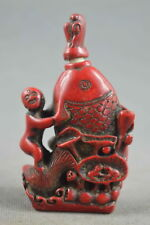 China Collectable Handwork Coral Carve Child Hug Fish Lucky Special Snuff Bottle