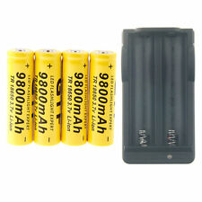 US 4Pcs 3.7V 18650 9800mAh Rechargeable Li-ion Battery + Charger for Flashlight