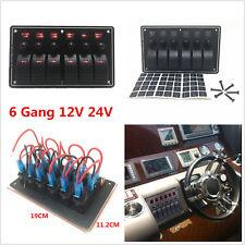 6 Gang 12V 24V Red Led Car Truck Marine Boat Rocker Switch Panel Circuit Breaker