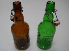 Vintage Embossed Grolsch Amber & Green Beer Bottles Swing Top