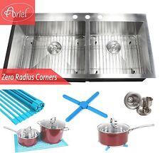 "Ariel 43"" Stainless Steel Topmount Drop In Zero Radius Double Bowl Kitchen Sink"