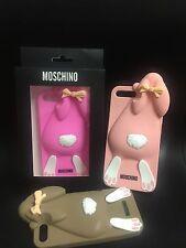 Moschino Logo Arrampicata Rabbit Custodia in Silicone iPhone 7 7 Plus/Baby Rosa Marrone-Boxed