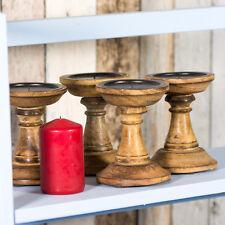 Set of 4 Candle Sticks 13cm Shabby Chic Retro Wooden Candlestick Holders Pillar