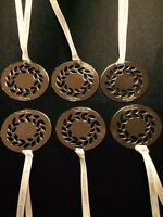 6x Georg Jensen 2016 Christmas WREATH Decorations SILVER + ribbons NEW for Xmas