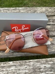 Ray Ban Round Metal Sunglasses Pink Silver