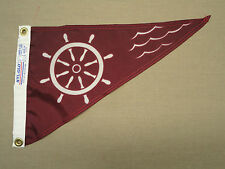 "Ship's Wheel Burgundy Indoor Outdoor Nylon Boating Pennant Grommets 10"" X 15"""
