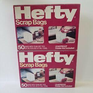 Vintage Hefty Scrap Bags With Tear Off Ties Box 50 Bags Discontinued Leakproof