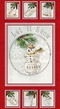 Winter lodge bonhomme de neige de noël vacances 100% coton quilting tissu panneau