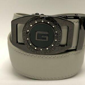 Men's Ratchet Leather Belt for Dress, Sliding Automatic Buckle Belt Fit Waist up