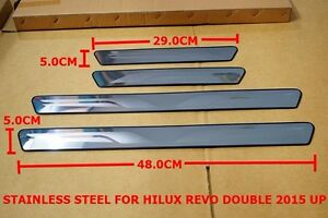 TOYOTA HILUX REVO M70 M80 SCUFF PLATE STAINLESS STEEL STEP DOOR SET OF4