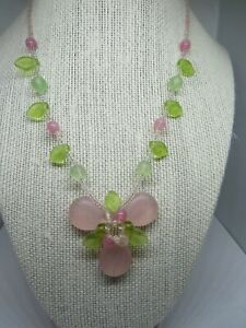 "19"" necklace,gold tone, glass leaves and flower charm, pink and green"