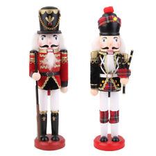 2 Pz Soldati Schiaccianoci Dipinte Mano Ornamento Natalizie Decorativo 30cm