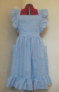 "Frilly Fuller Figure 'Light Blue Gingham' Vintage Style Bib Apron(30""loop w/b)"