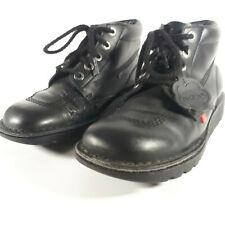 Kickers Kick Hi Black Leather Back to School Shoes Size 7.