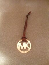 "New Michael Kors Signature Hang tag Fob Charm LUGGAGE GOLD 2"" wide 5"" long"