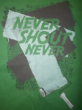 NEVER SHOUT NEVER T SHIRT Band Concert Tour Paint Roller Graffiti Cover Up Tag M