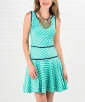 Sleeveless Dress Size 6 Ladies Womens Mint Green Striped