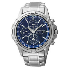 Mens Seiko Solar Silver Stainless Steel Blue Dial Chronograph Date Watch SSC141