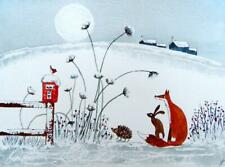 ORIGINAL Watercolour Painting:ANIMALS/LANDSCAPE:FOX, HARE, HEDGEHOG & ROBIN/MOON